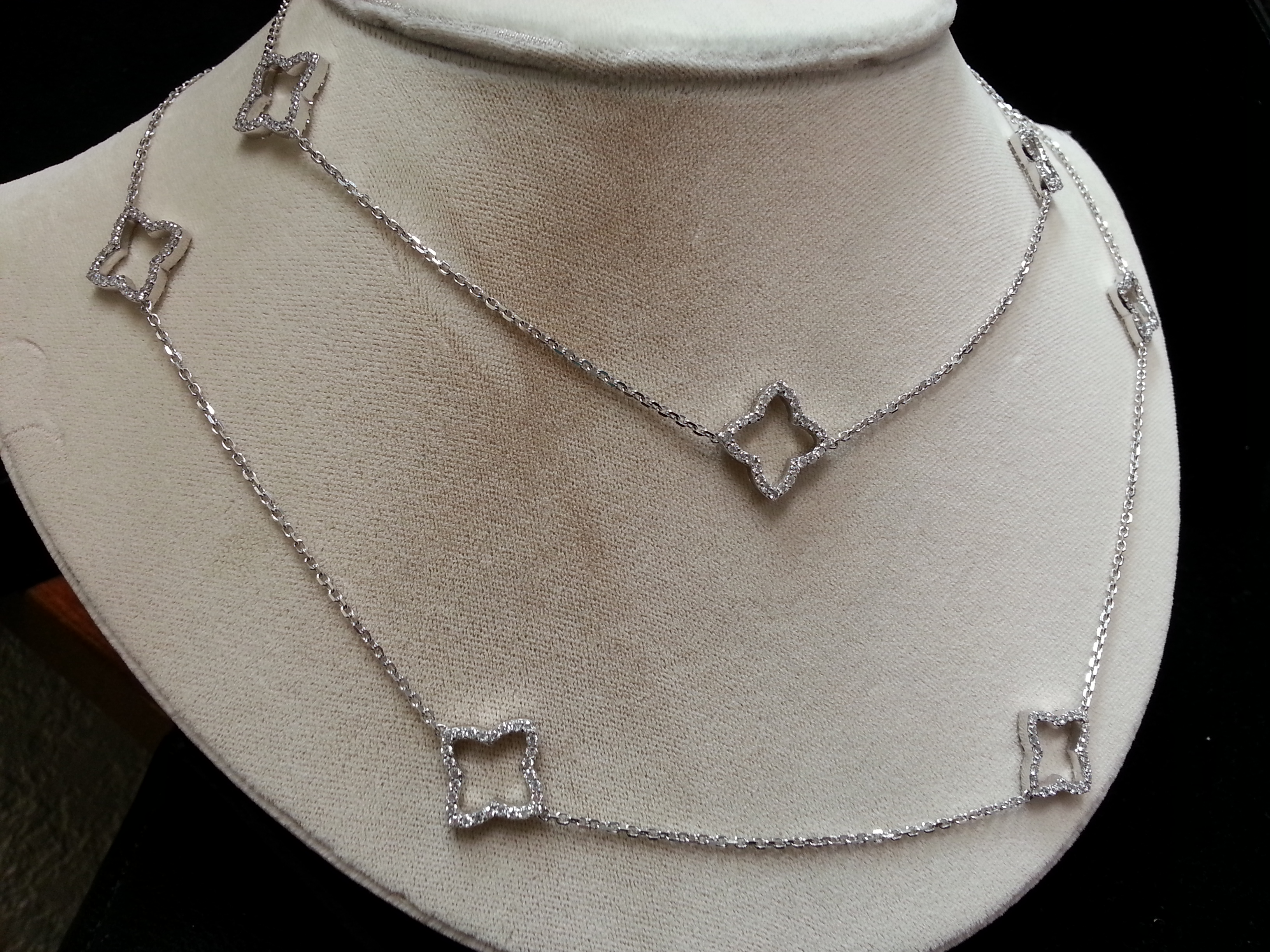 """Clover Necklace218k White Gold 35"""" Long Diamond Clover Necklace. There is 5.75ctw of Diamonds."""