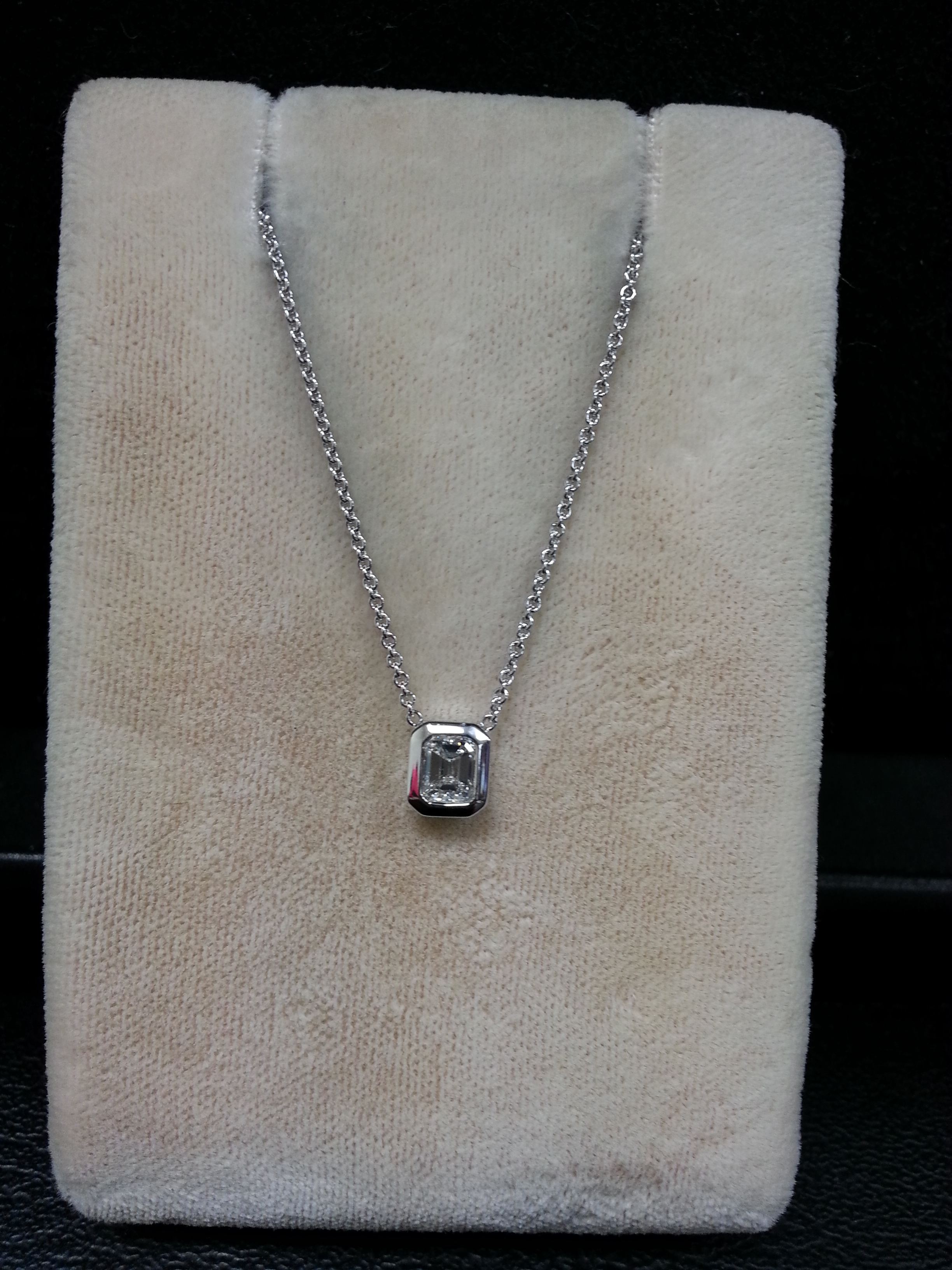 "18k White Gold Bezel Set Emerald Cut Diamond Pendant on 18k White Gold Adjustable 16""-18"" Chain. E/SI1 D.31ct"