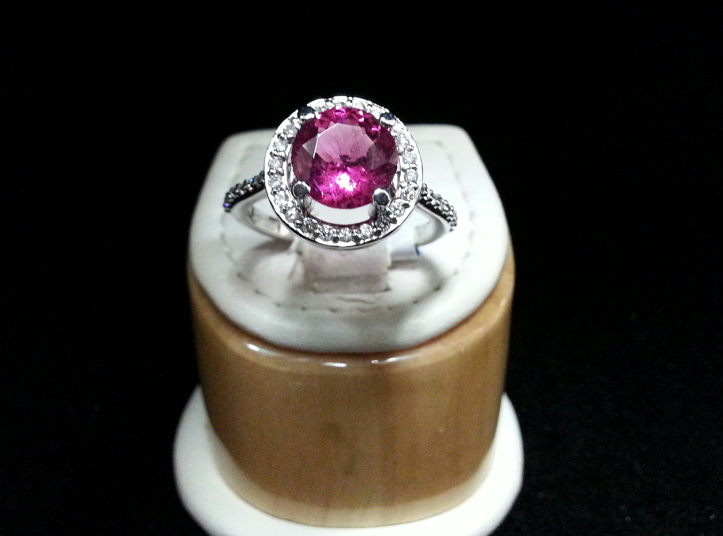 Diamond Halo Style 14k White Gold Mounting with Round Pink Tourmaline in Center. Tourmaline is 1.58ct with 0.26ctw of Diamonds.