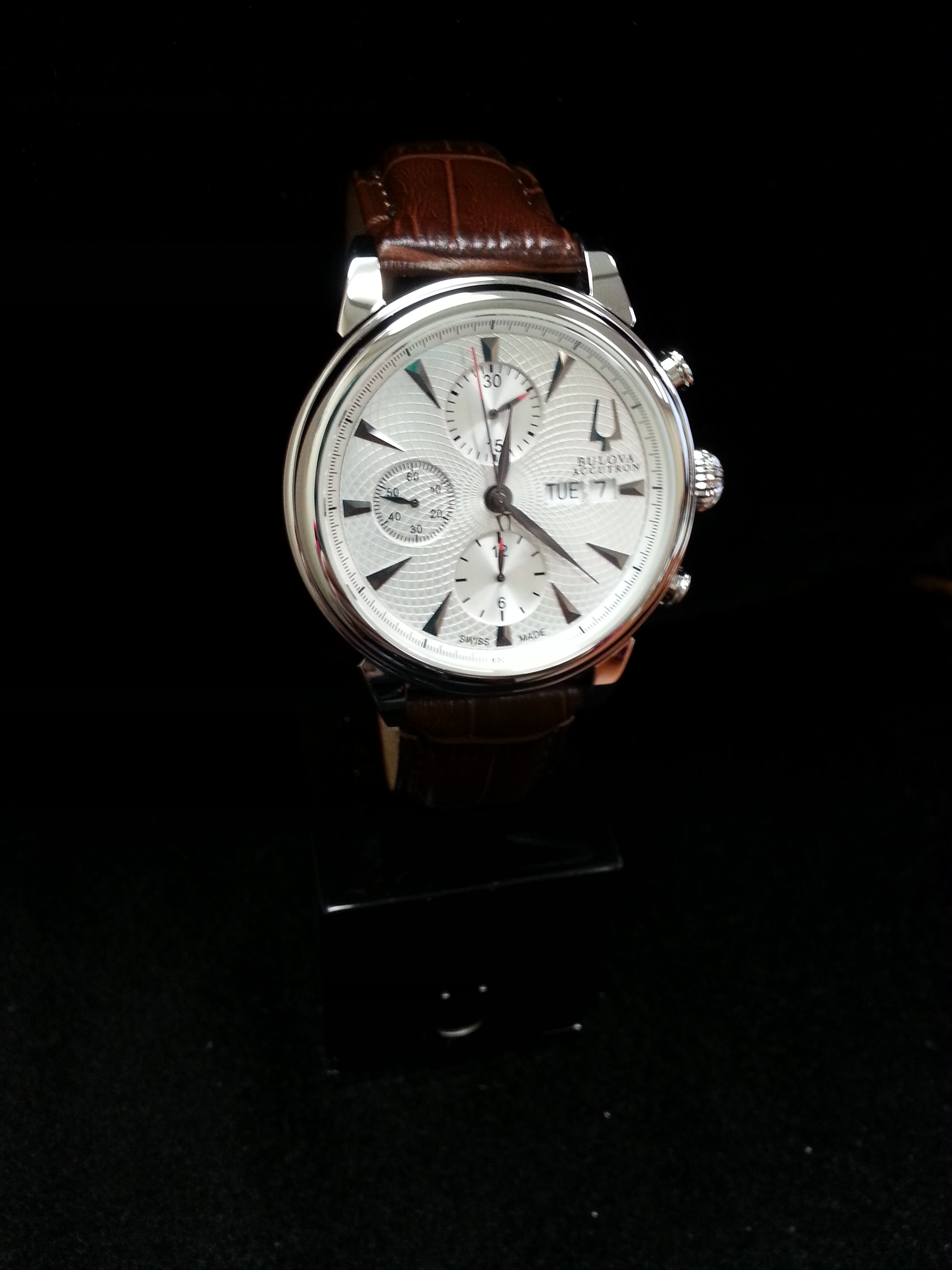 Bulova Mens Watch: Gent's Stainless Steel Bulova Accutron Gemini Valjoux Chronograph Automatic with Silver Dial on Brown Leather Strap.