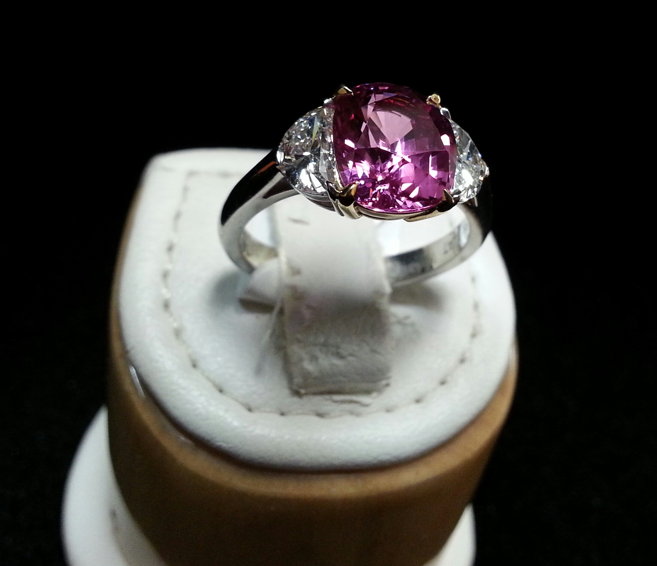 18K Yellow Gold and Platinum Gubelin Certified Natural Un-Heated Cushion Cut Pink Sapphire and Moon Shaped Diamond Ring. Sapphire is 3.54ct and Diamonds are 0.81ct Each